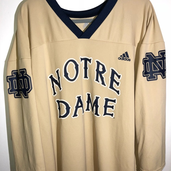 newest b207f 804d0 Retro Adidas Notre Dame Hockey Jersey
